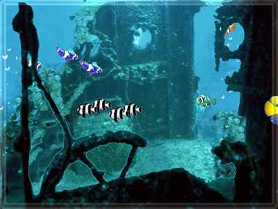 Free 39 sunken treasure 39 screensaver for Swimming fish screensaver
